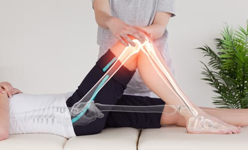 Digital Bones overlaying woman getting work done on her knee